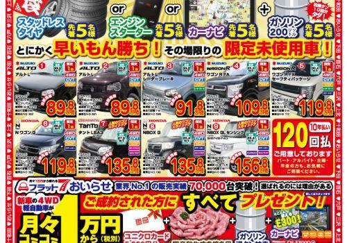 2019年初売り 元日より営業!初売御成約特典 選べる福袋プレゼント!